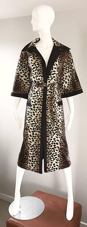 1960s Lilli Ann Leopard Cheetah Print Vintage Fabulous 60s Trench Jacket Coat  For Sale 4