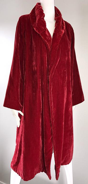 1920s Silk Velvet Blood Red Vintage 20s Luxurious Opera Flapper Jacket Coat 5