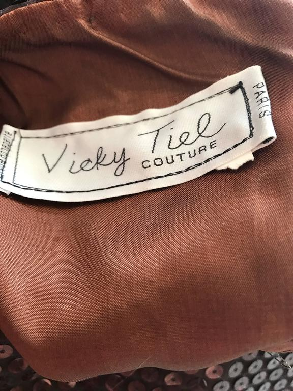 Vintage Vicky Tiel Couture Sexy Chocolate Brown Sequin Cut - Out Bodycon Dress 10
