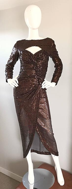 Vintage Vicky Tiel Couture Sexy Chocolate Brown Sequin Cut - Out Bodycon Dress 2