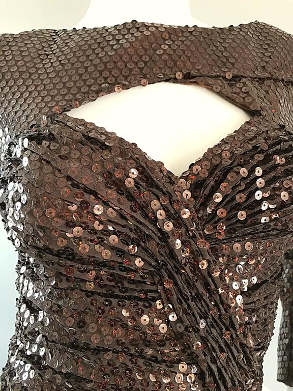 Vintage Vicky Tiel Couture Sexy Chocolate Brown Sequin Cut - Out Bodycon Dress 3