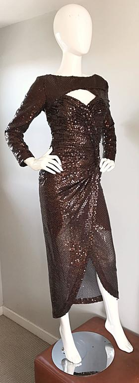Vintage Vicky Tiel Couture Sexy Chocolate Brown Sequin Cut - Out Bodycon Dress 4
