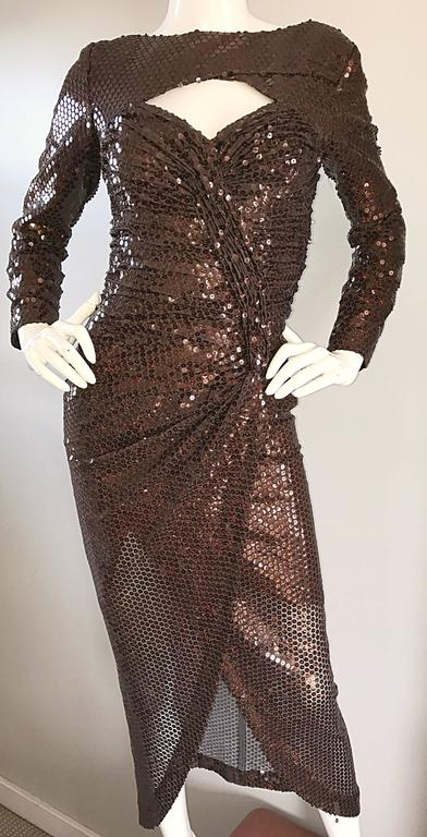 Vintage Vicky Tiel Couture Sexy Chocolate Brown Sequin Cut - Out Bodycon Dress 5
