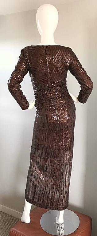 Vintage Vicky Tiel Couture Sexy Chocolate Brown Sequin Cut - Out Bodycon Dress 6