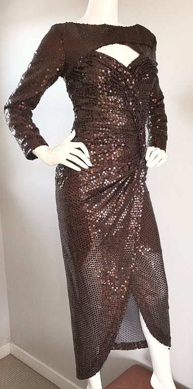 Vintage Vicky Tiel Couture Sexy Chocolate Brown Sequin Cut - Out Bodycon Dress 7
