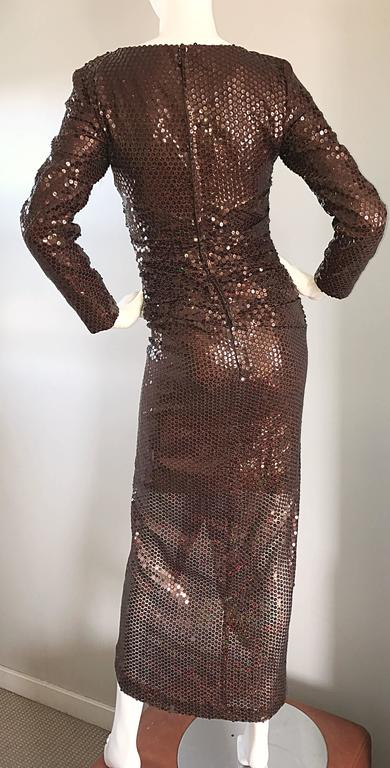 Vintage Vicky Tiel Couture Sexy Chocolate Brown Sequin Cut - Out Bodycon Dress 8