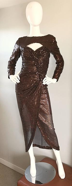 Vintage Vicky Tiel Couture Sexy Chocolate Brown Sequin Cut - Out Bodycon Dress 9