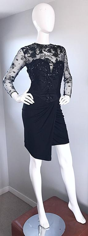 Vicky Tiel Couture Vintage Black Jersey + Lace + Sequins Sexy Asymmetrical Dress 6