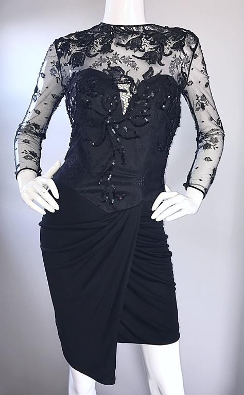 Vicky Tiel Couture Vintage Black Jersey + Lace + Sequins Sexy Asymmetrical Dress 7