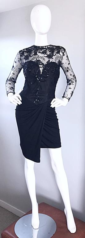 Vicky Tiel Couture Vintage Black Jersey + Lace + Sequins Sexy Asymmetrical Dress 8