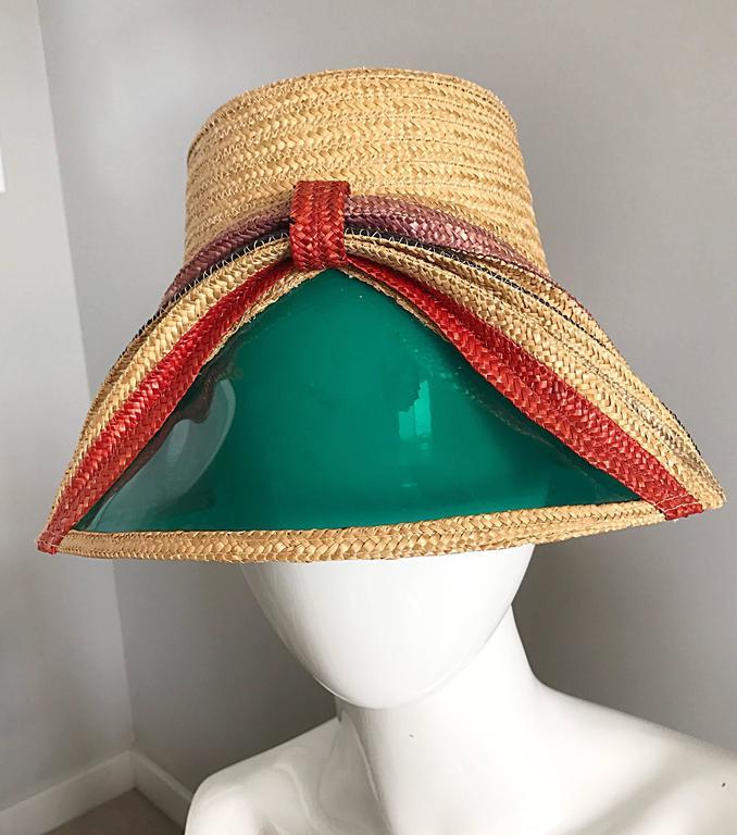 Rare 1960s Italian Vintage 60s Straw Hat w/ Built in ' Sunglasses ' Visor  Shade