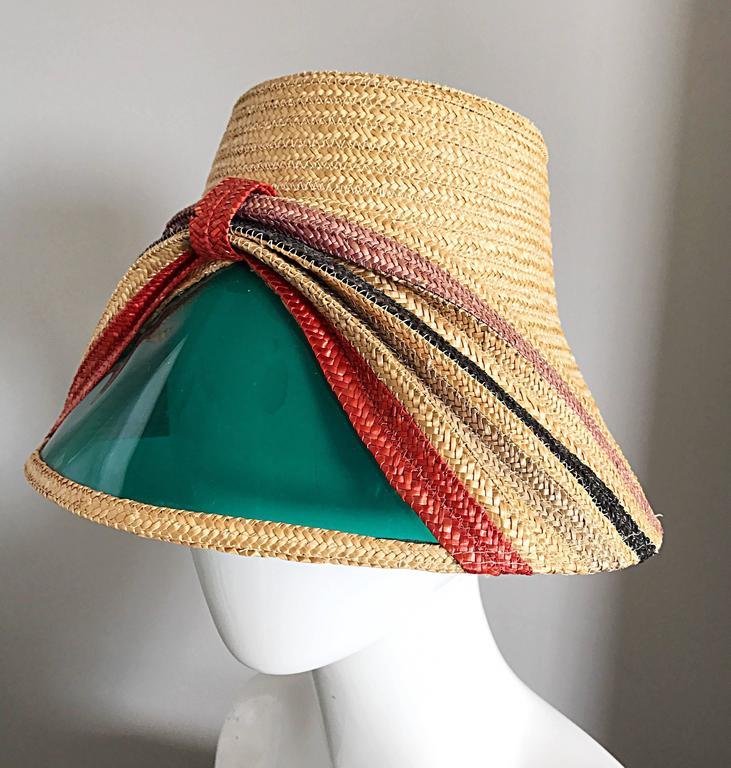 e1c1e25b Beige Rare 1960s Italian Vintage 60s Straw Hat w/ Built in ' Sunglasses '  Visor
