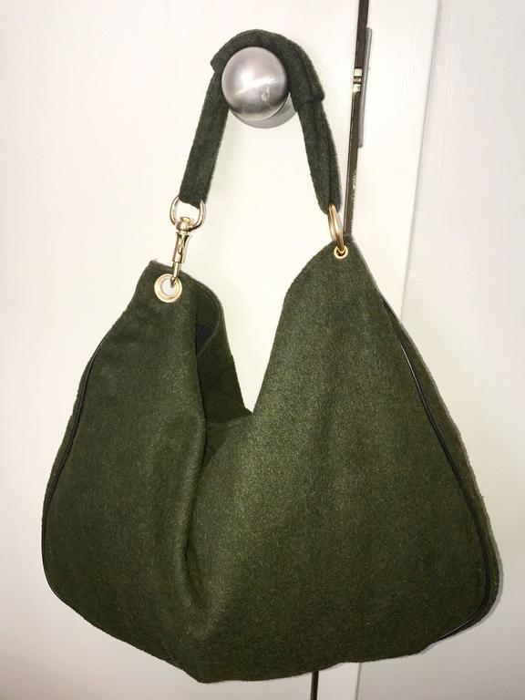 Black 1970s Joseph Magnin Hunter Green Made in Italy Wool XL Hobo Vintage Shoulder Bag For Sale