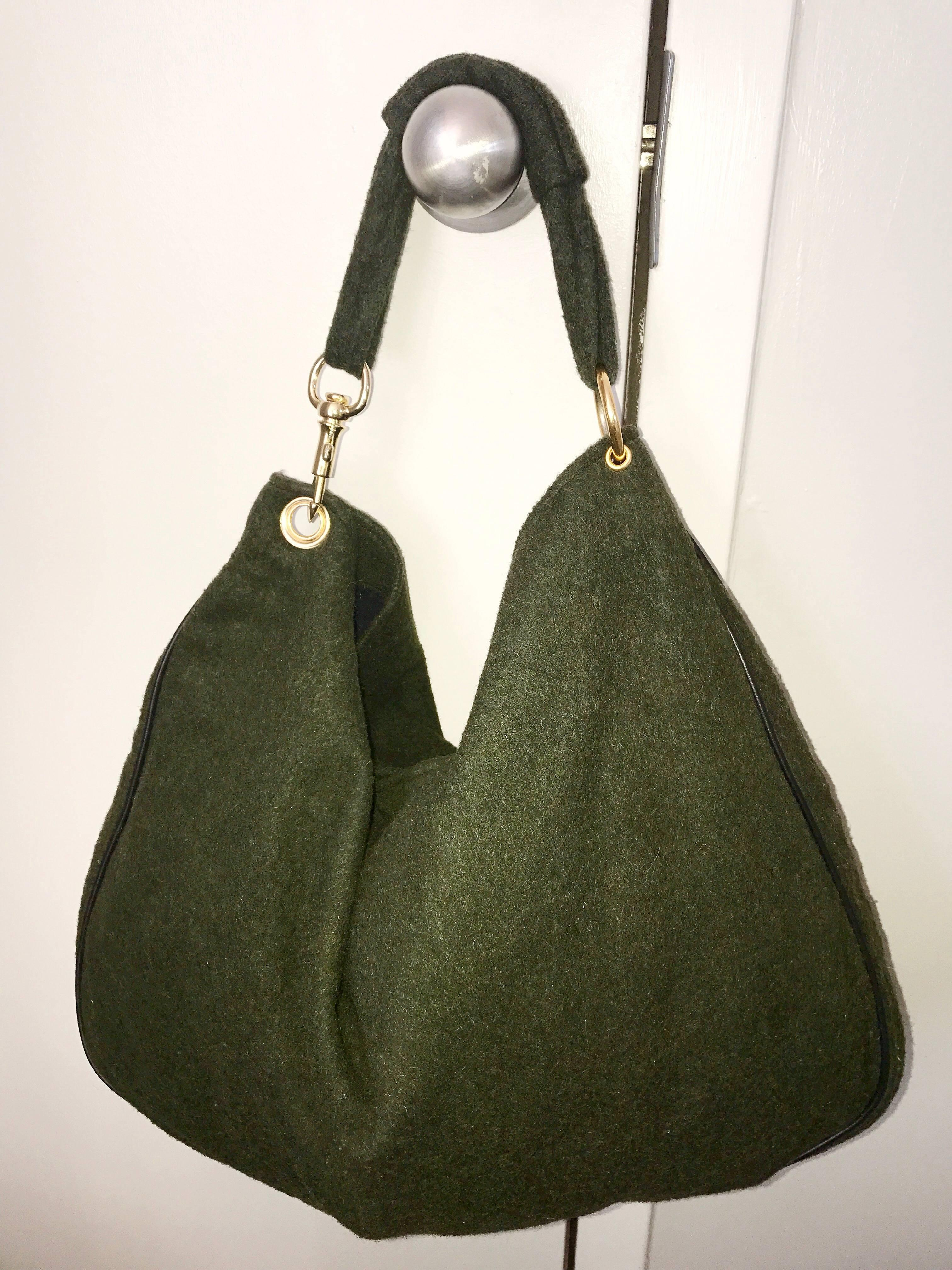bc15a71570786d 1970s Joseph Magnin Hunter Green Made in Italy Wool XL Hobo Vintage Shoulder  Bag For Sale at 1stdibs