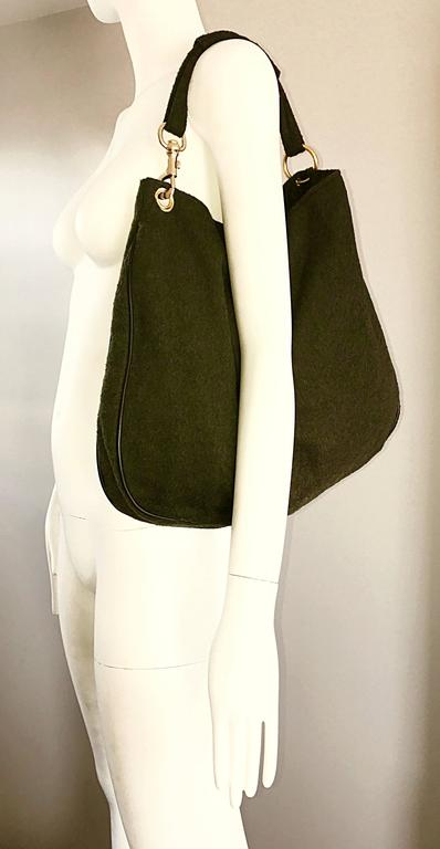 3a19359cd45c Women s 1970s Joseph Magnin Hunter Green Made in Italy Wool XL Hobo Vintage  Shoulder Bag For