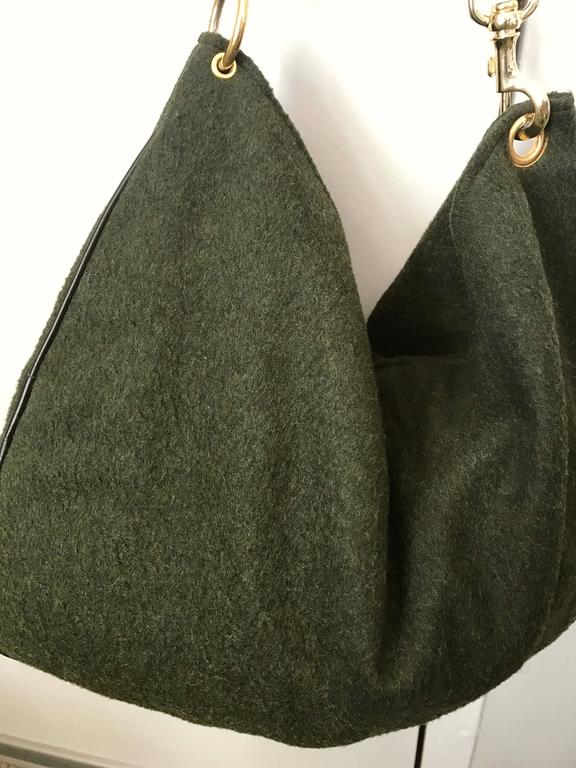 64b9ca18a152 1970s Joseph Magnin Hunter Green Made in Italy Wool XL Hobo Vintage  Shoulder Bag For Sale