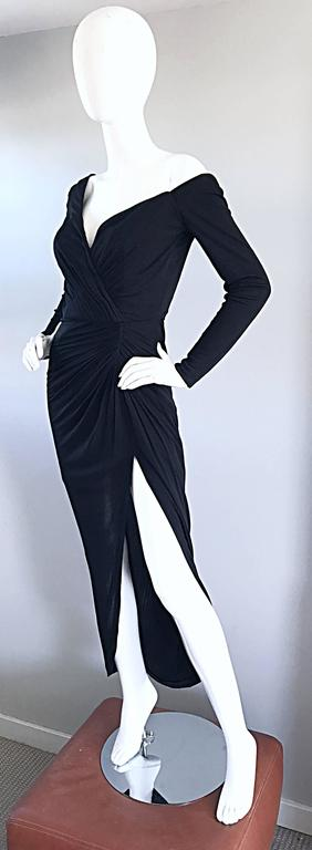 Amazing Vintage VIcky Tiel Couture Sexy Late 70s Black Jersey Assymetrical Gown In Excellent Condition For Sale In Chicago, IL