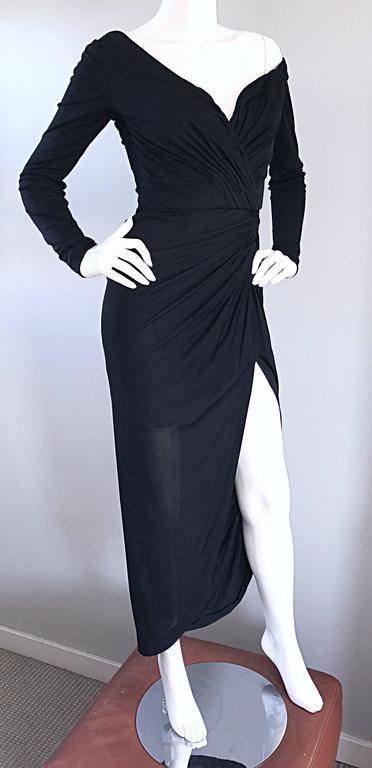 Women's Amazing Vintage VIcky Tiel Couture Sexy Late 70s Black Jersey Assymetrical Gown For Sale