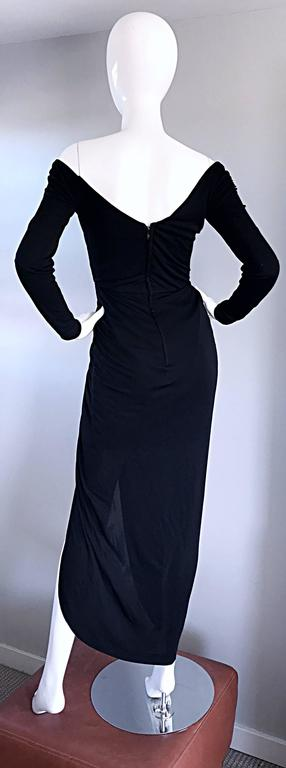 Amazing Vintage VIcky Tiel Couture Sexy Late 70s Black Jersey Assymetrical Gown For Sale 1