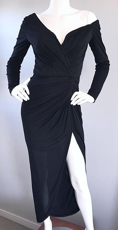 Amazing Vintage VIcky Tiel Couture Sexy Late 70s Black Jersey Assymetrical Gown For Sale 2