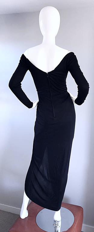 Amazing Vintage VIcky Tiel Couture Sexy Late 70s Black Jersey Assymetrical Gown For Sale 4