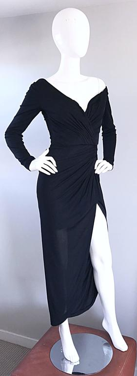 Amazing Vintage VIcky Tiel Couture Sexy Late 70s Black Jersey Assymetrical Gown For Sale 3