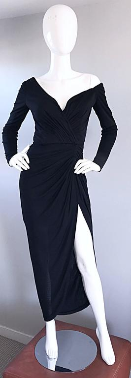 Amazing Vintage VIcky Tiel Couture Sexy Late 70s Black Jersey Assymetrical Gown For Sale 5