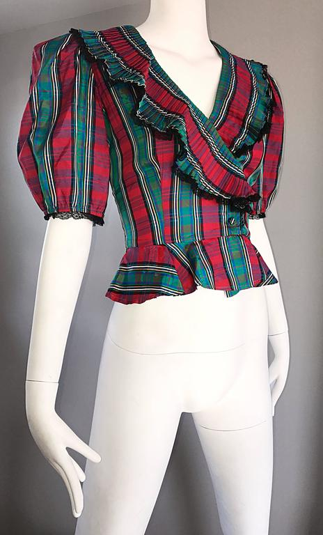 Black Chic 1970s Red and Green Plaid Taffeta + Lace Victorian Revival Vintage Blouse For Sale