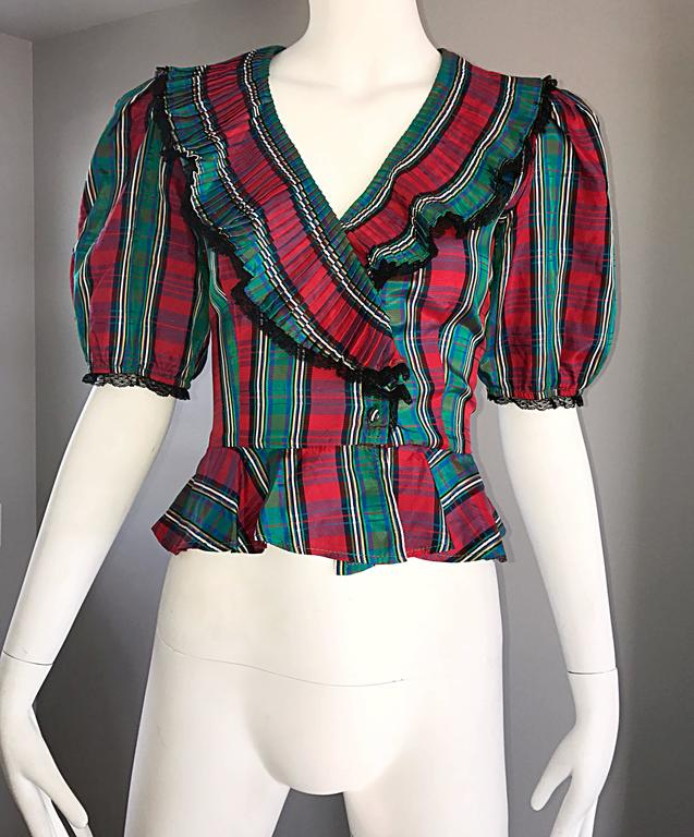 Women's Chic 1970s Red and Green Plaid Taffeta + Lace Victorian Revival Vintage Blouse For Sale