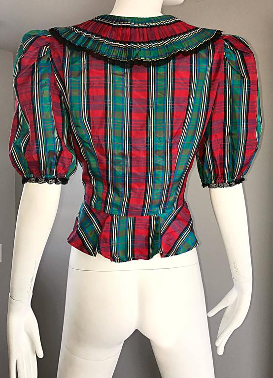 Chic 1970s Red and Green Plaid Taffeta + Lace Victorian Revival Vintage Blouse For Sale 2
