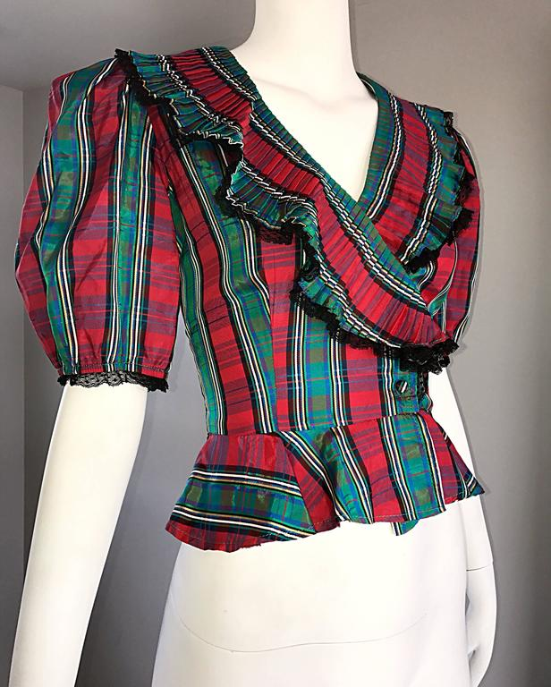 Chic 1970s Red and Green Plaid Taffeta + Lace Victorian Revival Vintage Blouse For Sale 3