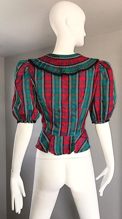 Chic 1970s Red and Green Plaid Taffeta + Lace Victorian Revival Vintage Blouse For Sale 4