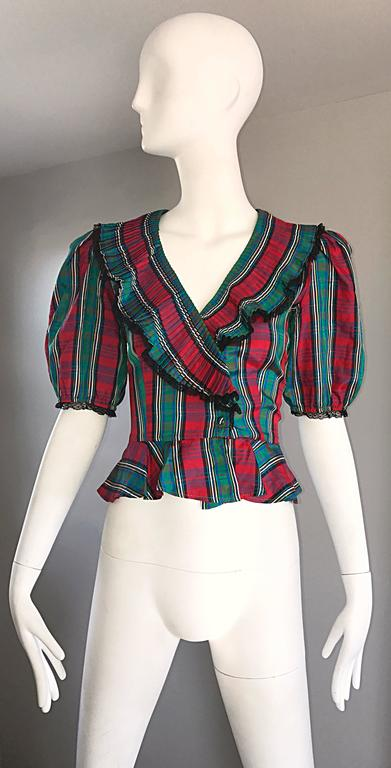 Chic 1970s Red and Green Plaid Taffeta + Lace Victorian Revival Vintage Blouse For Sale 5
