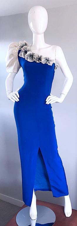 Amazing Vintage Couture Royal Blue One Shoulder Avant ... - photo#33