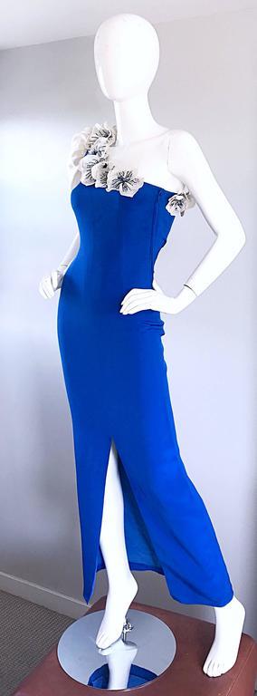 Amazing Vintage Couture Royal Blue One Shoulder Avant ... - photo#22