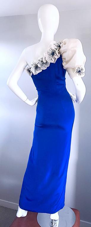 Amazing Vintage Couture Royal Blue One Shoulder Avant ... - photo#5