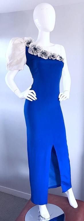 Amazing Vintage Couture Royal Blue One Shoulder Avant ... - photo#25