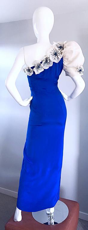Amazing Vintage Couture Royal Blue One Shoulder Avant ... - photo#42