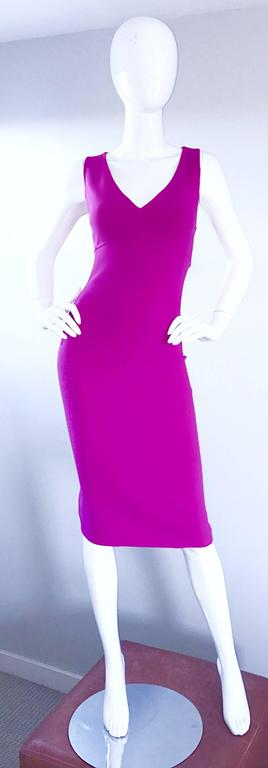 Michael Kors Collection Size 10 Fucshia Hot Pink Double Face Wool Runway Dress 2