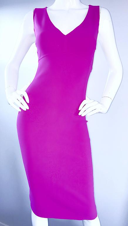 Michael Kors Collection Fuchsia Hot Pink Double Face Wool Runway Dress, Size 10  In New never worn Condition For Sale In San Francisco, CA