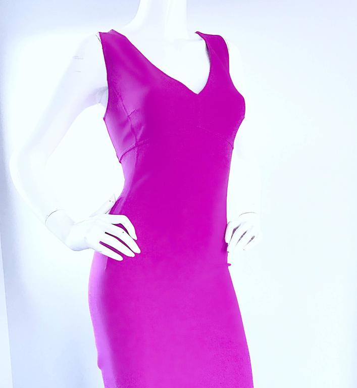 Michael Kors Collection Fuchsia Hot Pink Double Face Wool Runway Dress, Size 10  For Sale 1