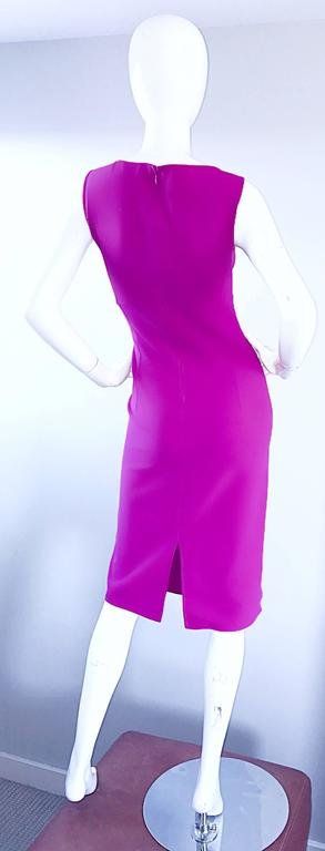 Women's Michael Kors Collection Fuchsia Hot Pink Double Face Wool Runway Dress, Size 10  For Sale