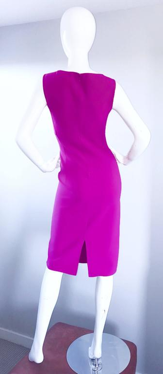 Michael Kors Collection Fuchsia Hot Pink Double Face Wool Runway Dress, Size 10  For Sale 2