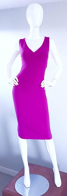 Michael Kors Collection Fuchsia Hot Pink Double Face Wool Runway Dress, Size 10  For Sale 3