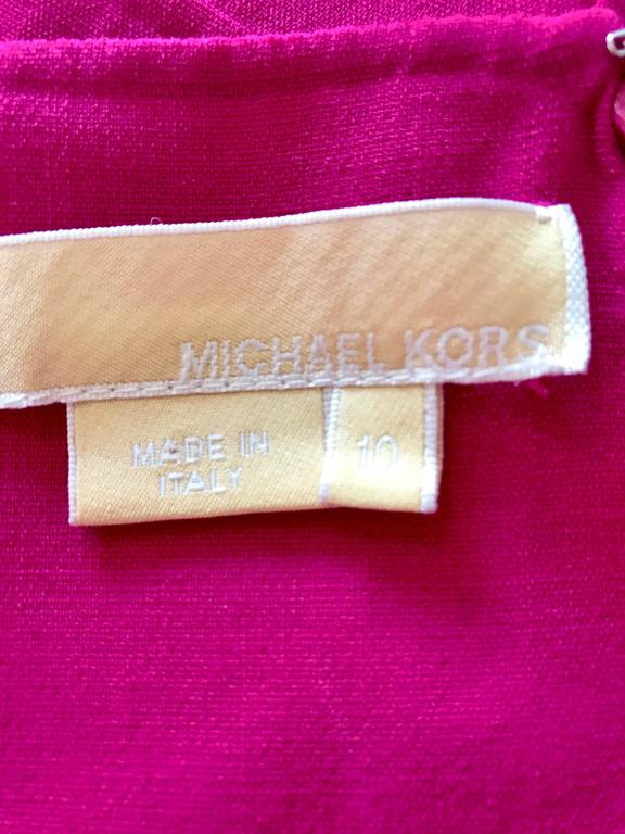 Michael Kors Collection Fuchsia Hot Pink Double Face Wool Runway Dress, Size 10  For Sale 4