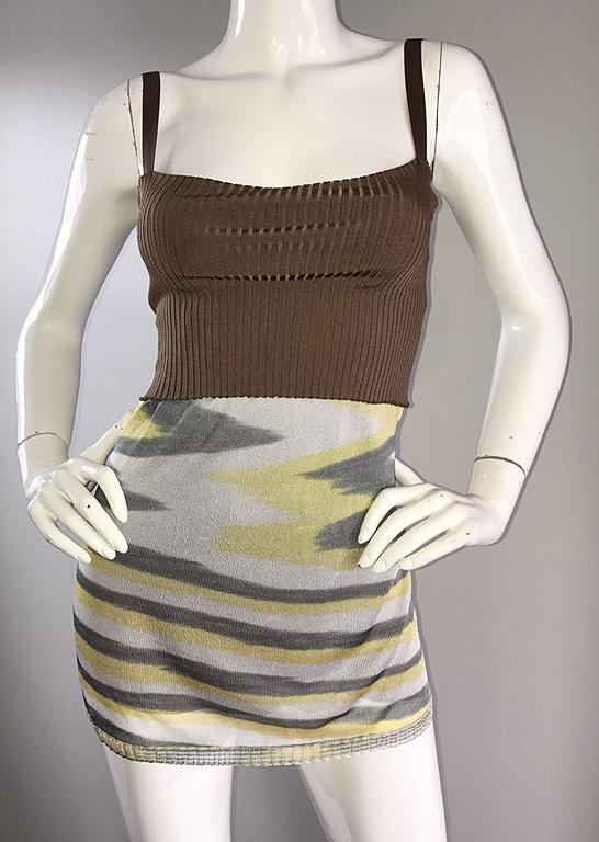 1990s Missoni 90s Vintage Mini Dress, Tunic Top, Or Skirt Zig Zag Brown + Yellow 3