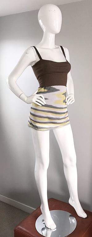 1990s Missoni 90s Vintage Mini Dress, Tunic Top, Or Skirt Zig Zag Brown + Yellow 6