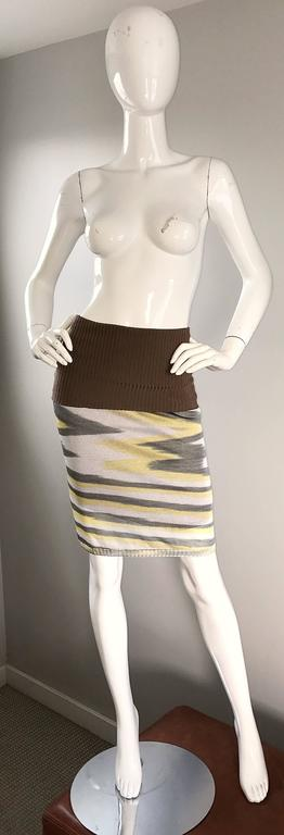 1990s Missoni 90s Vintage Mini Dress, Tunic Top, Or Skirt Zig Zag Brown + Yellow 5