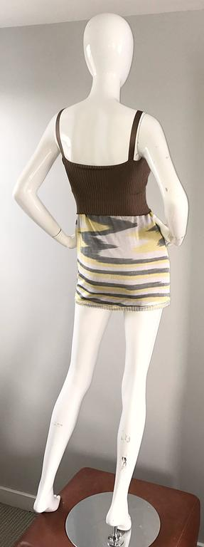 1990s Missoni 90s Vintage Mini Dress, Tunic Top, Or Skirt Zig Zag Brown + Yellow 7