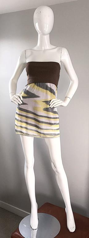 1990s Missoni 90s Vintage Mini Dress, Tunic Top, Or Skirt Zig Zag Brown + Yellow 4